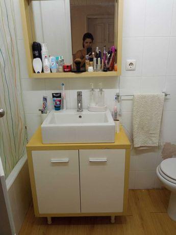 movel com lavatório e espelho +torneira + sanita + bidé