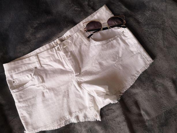 Nowe białe szorty dżinsowe C&A rozmiar M z przetarciami
