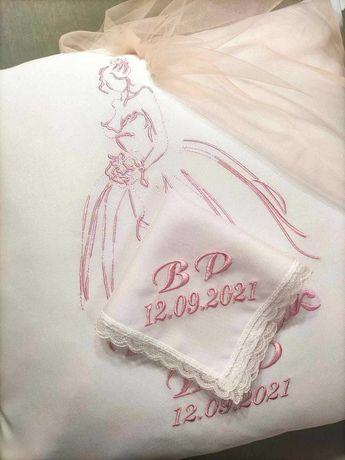Подушка для обряду зняття фати, подушка під обручки,хустинки вінчальні