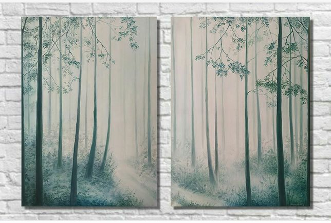"Картина для интерьера , ""Туманный лес"",масло, холст, 2(50*70)"