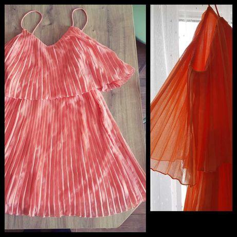 Sukienka plisowana nowa z metką koktajlowa łosoś 38 wesele nly