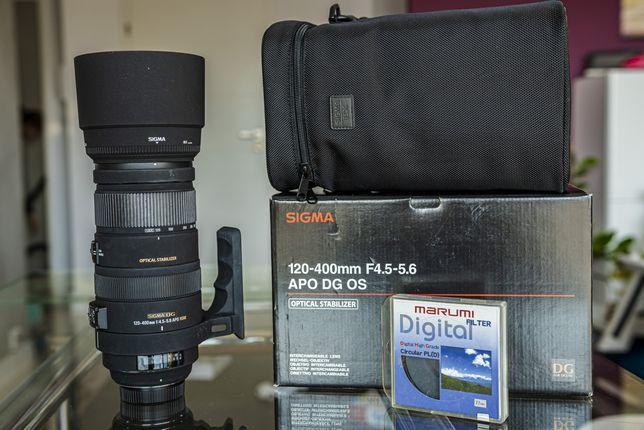 Sigma 120-400 mm F4,5-5,6 APO DG OS z mocowaniem do Nikona + filtr