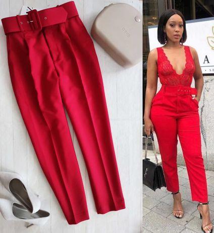Zara spodnie czerwone Zara L 40 paperbag pasek