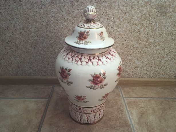 Duży Wazon Porcelana / Amfora w Kwiaty