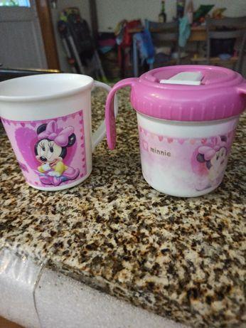 Caneca para agua e caneta para leite Minnie