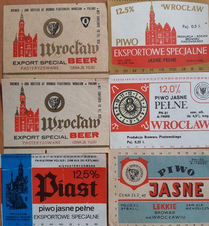 6 starych etykiet z Browaru Piastowskiego