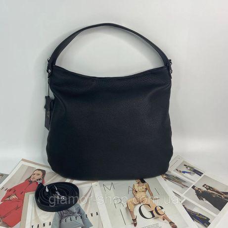 Женская кожаная сумка на плечо большая мягкая Polina & Eiterou чёрная