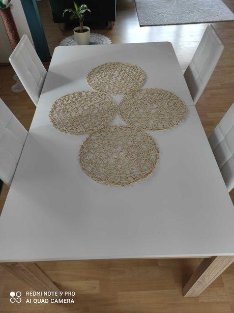 Stół biały lakierowany blat, nogi w kolorze dąb sonoma