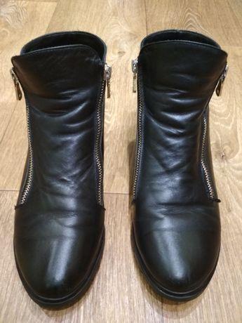 Кожаные осенние, демисезонные ботинки для девочки