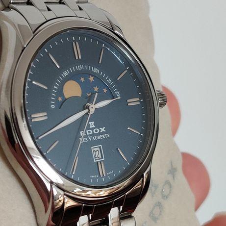 Швейцарские наручные, мужские часы EDOX с фазами луны