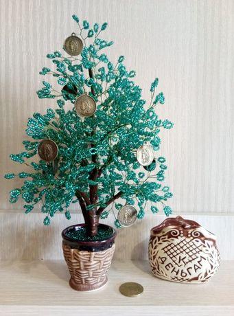 Бисер. Денежное дерево. Отличный подарок к любому празднику.
