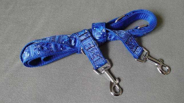 Smycz przepinana 3 metry niebieska Buldog spaniel sznaucer border mops
