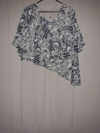 Sukienka asymetryczna 54 kwiaty z lamówką