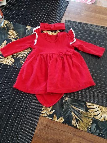 Piękna sukienka czerwona rozmiar 74