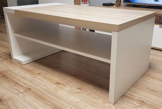 Stolik kawowy solidny biały sonoma wotan drewniany stół 65 x 120 x 53