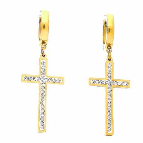 Kolczyki Krzyże Duże złote stal chirurgiczna cudo :)