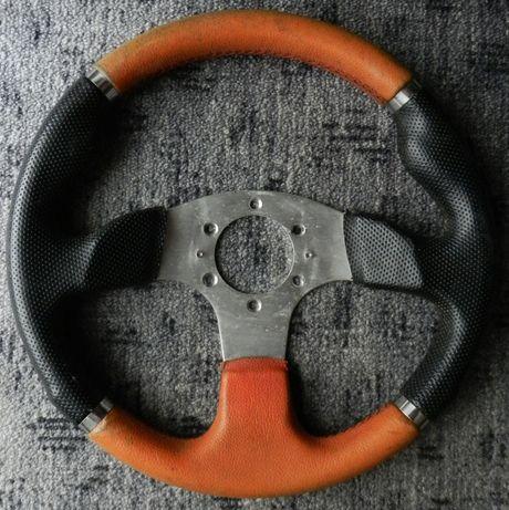Zabytkowa kierownica sportowa rajdowa uniwersalna 32cm czerń pomarańcz
