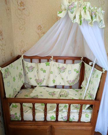 Бортики для детской кроватки.Балдахин+держатель.