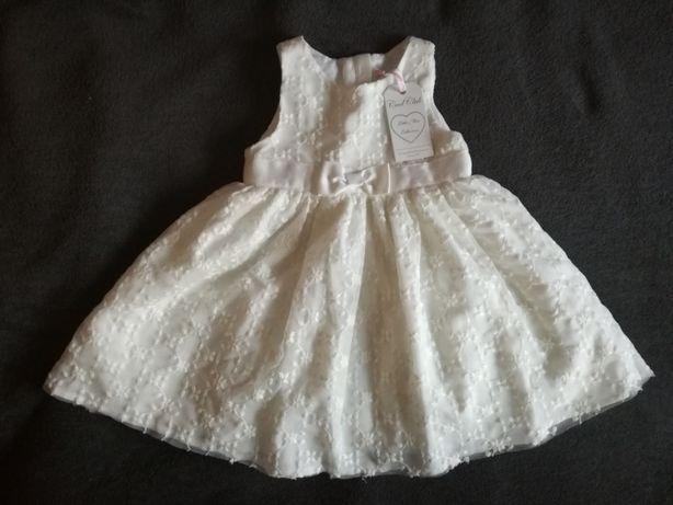 Sukienka ecru rozm.86 okolicznościowa na chrzest dziecieca