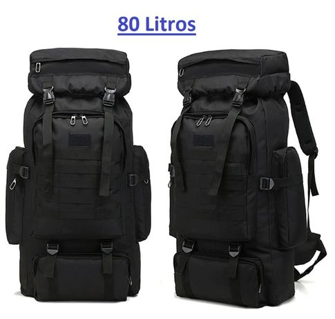 Mochila Militar de 80L - Tactical Backpack - Preto - ARTIGO NOVO