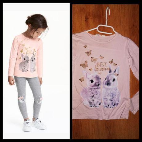 H&m super bluzeczka z króliczkiem 134/140cm