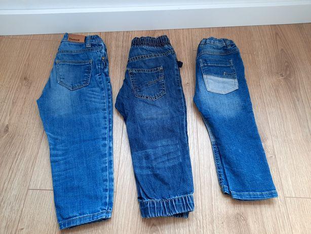 3 pary spodni jeansowe (miękkie) r.80-92