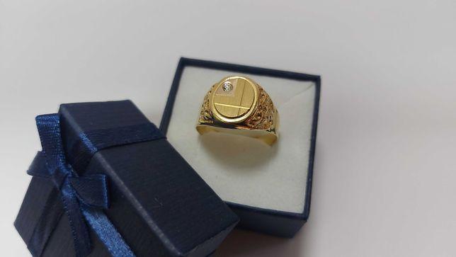 Piękny złoty sygnet z cyrkonią, złoto 584, rozmiar 25