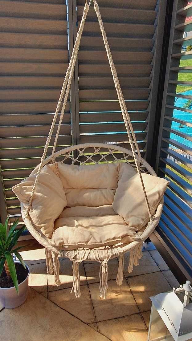 Bocianie gniazdo z poduszką, fotel brazylijski, wiszący.