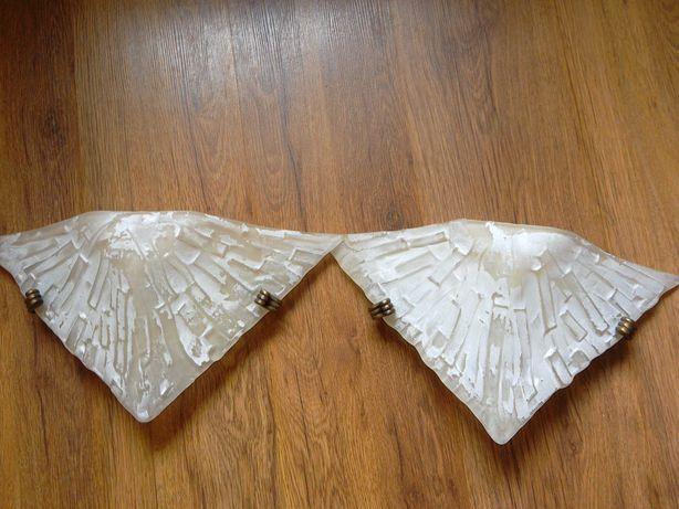 Dwa kinkiety beżowe szklane