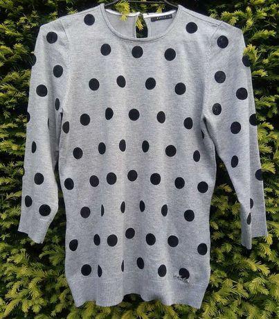 Mohito 36 S sweter sweterek bluza kropki szara grochy