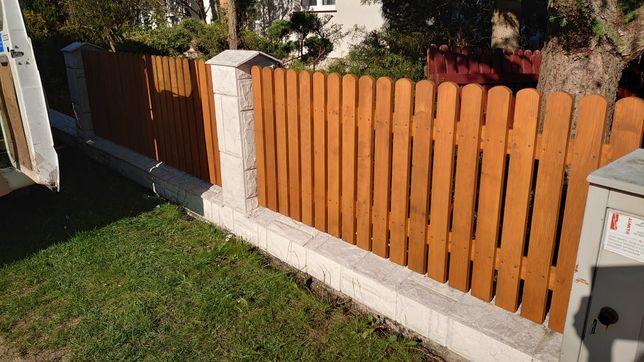 Ogrodzenie drewniane modrzew olcha panel drewniany płot sztacheta
