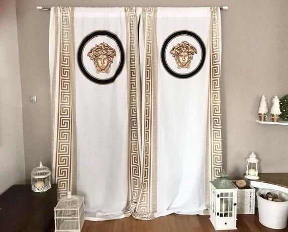 Zasłona versace komolet Zasłon styl grecki złota srebrna tunel  żabki