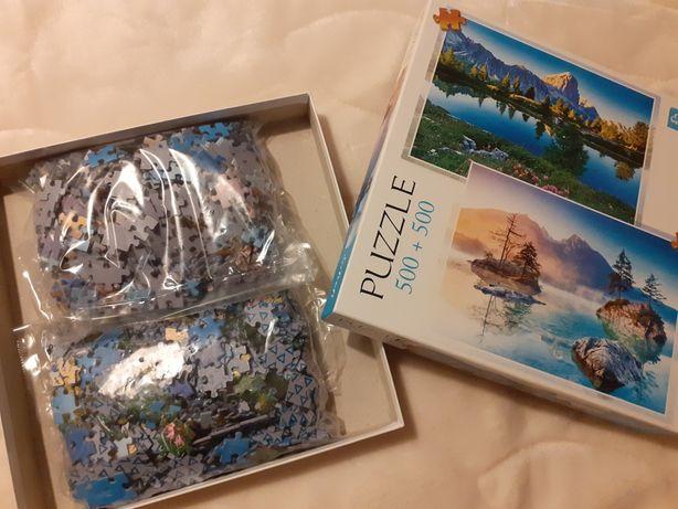 Puzzle 2x500, górski obrazek