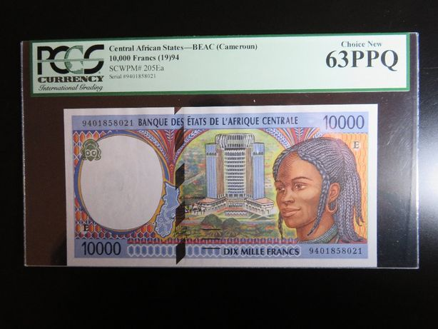 NOTA - CAMARÕES - 10.000 FRANCS - Pick 205 Ea - 1994 - PCGS 63