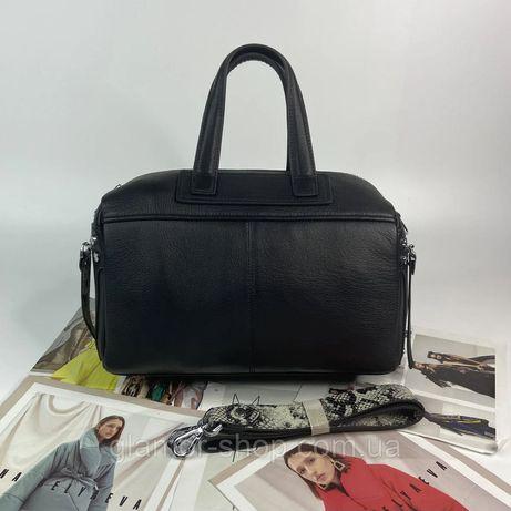 Женская кожаная сумка с широким ремешком питон Polina & Eiterou