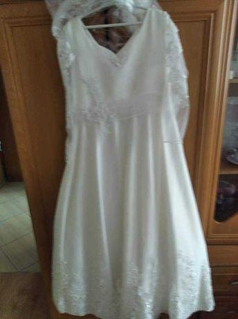 Sukienka chawtowana komunijna kolor delikatny krem na dziewczynkę 154.