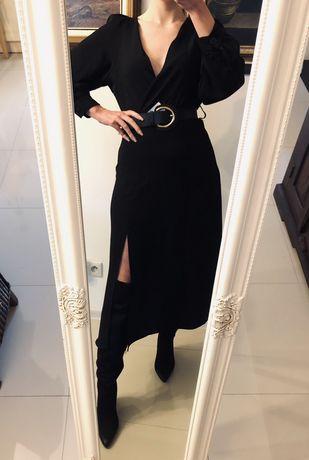 Sukienka Zara średniej długości z paskiem