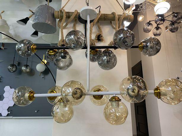 Стильная дизайнерская люстра на 8 лампочек модерн хайтек лофт