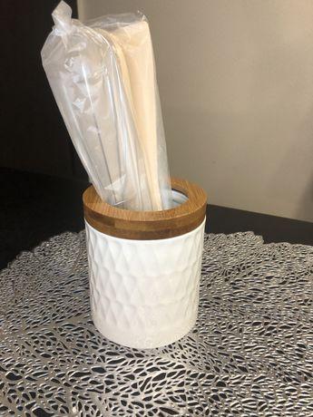 Подставка из фарфора и бамбука для кухонных принадлежностей