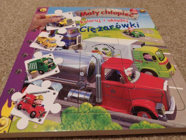 Książeczka Ciężarówki z puzzlami Mały chłopiec Koloruj i układaj