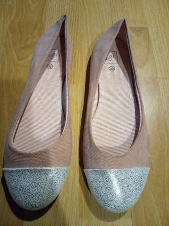 Baletki nowe różowo srebrne 39