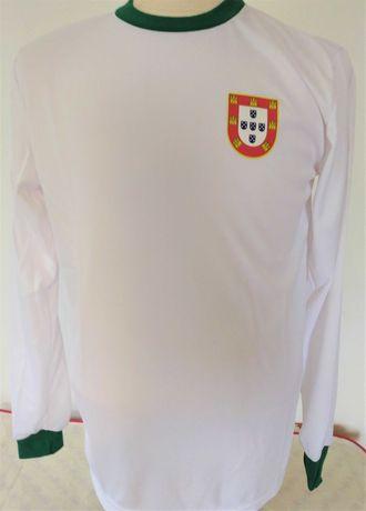Camisola portugal retro futebol 1966 eusebio estilo vintage branca