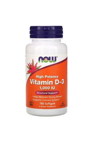 Now Foods, витамин D-3, 1000 МЕ, 180 капс.