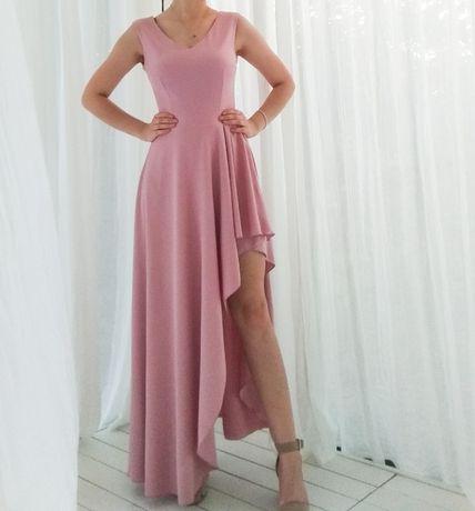 Sukienka asymetryczna długa wieczorowa