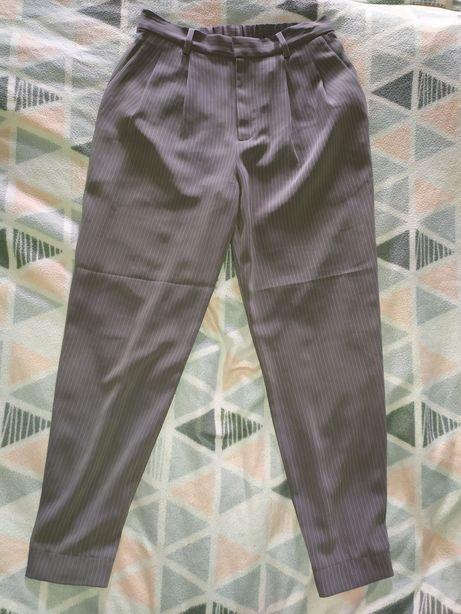 Szare spodnie cygaretki garniturowe w paski s 36 basic vintage