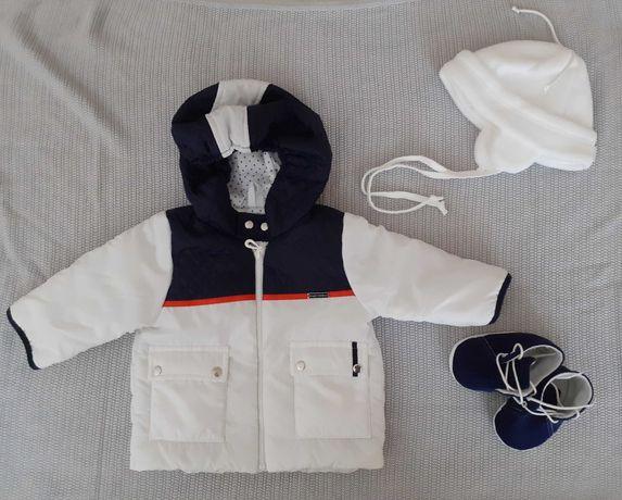 Ubranko do chrztu (kurtka, czapka, buty) dla chłopca rozm. 68