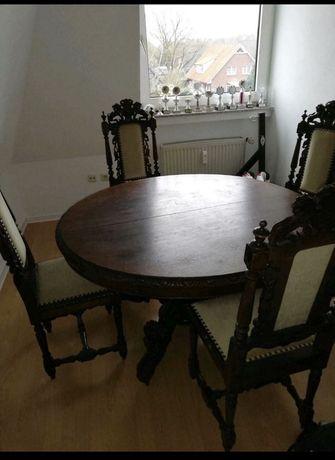 Meble gdanskie stary stol zestaw 1900 rok