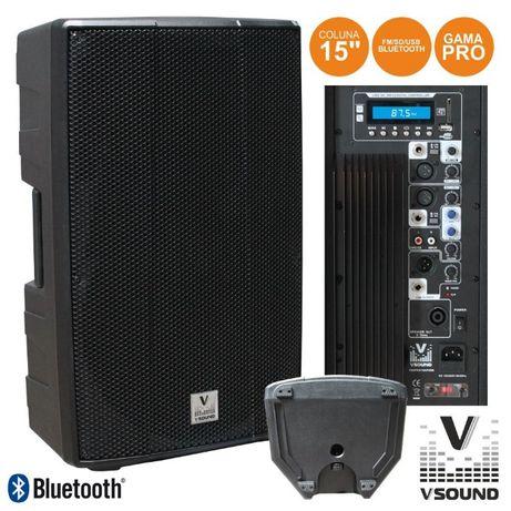 "Coluna Amplificada PRO 15"" USB/SD/FM/BLUETOOTH 600W VSOUND"