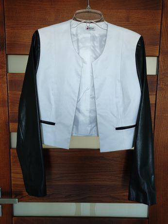 Krótka marynarka żakiet biały czarny rozmiar 36