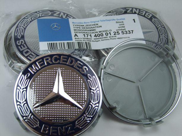 Mercedes dekielki kapsle emblemat 75mm komplet 4 sztuki granatowe